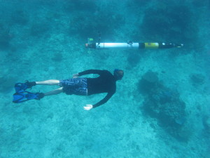 The Iver AUV conducting coral reef surveys at Scott Reef in WA.