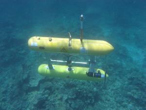 The AUV Sirius surveying coral reefs at Scott Reef, WA.